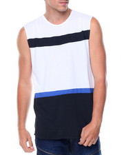 Shirts - Sleeveless Zipper Sides Color Block Tee