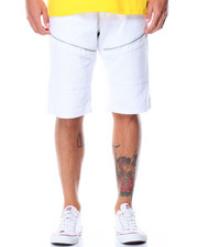 Men - Color Denim Moto Shorts