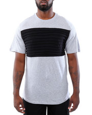 T-Shirts - Cut & Sew Side Zippers Pintuck Tee