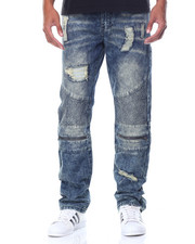 Men - Acid Washed Lined Biker Jeans