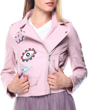 Women - Faux Leather Patches Moto Jacket