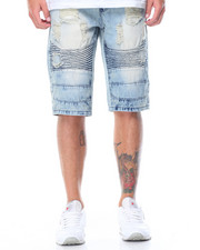 Men - Rip & Repair Moto Denim Shorts
