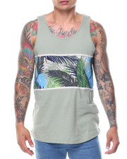 Men - Leaf Feather Printed Tank
