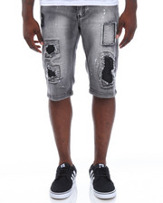 Men - Patches Stretch Denim Shorts