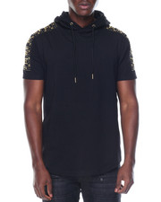 T-Shirts - Studded Shoulder S/S Hoody Top