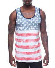 Men - Horizontal Striped Americana Tank
