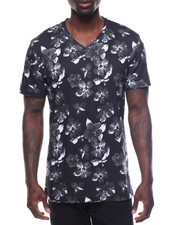 T-Shirts - S/S Floral V Neck Tee