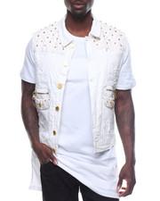 Men - Studded Vegan Leather Insert Vest