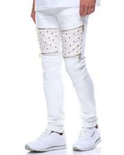 Men - Studded Vegan Leather Insert Jean