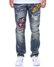 Men - Distressed Patch Denim Jeans