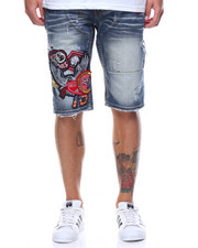 Men - Patch Zipper Denim Short