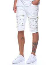 Men - Studded Vegan Leather Insert Short