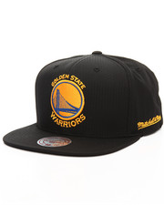 NBA, MLB, NFL Gear - Golden State Warriors Black Ripstop Honeycomb Snapback Cap