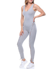 Women - Front Lace-up Tank Catsuit