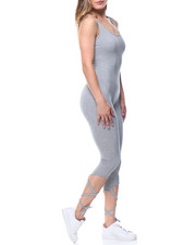 Women - Tie-up Leg Tank Capri Catsuit