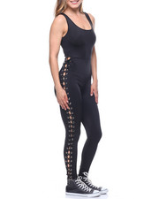 Fashion Lab - Lace-up Side Tank Catsuit