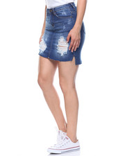 Fashion Lab - Distressed Hi-lo Frayed Hem Skirt