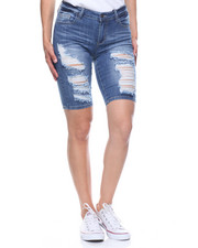 Women - Denim Ripped Bermuda