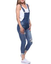 Women - Distressed Open Back Cuffed Overall