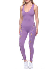 Fashion Lab - Front Lace-up Tank Catsuit