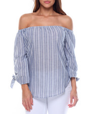 Fashion Lab - Cotton Stripe Off Shoulder Tie Sleeve Top