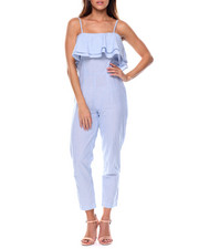 Women - Twill Stripe Ruffle Jumpsuit