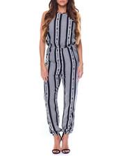 Fashion Lab - Chevron Stripe Keyhole Halter Jumpsuit