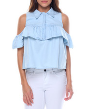 Women - Collar Cold Shoulder Ruffled Denim Blouse