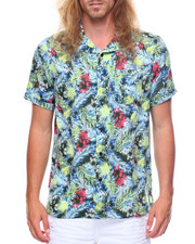 Shirts - S/S Palm Tree Leaves Printed Woven
