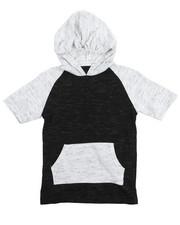 Sizes 8-20 - Big Kids - S/S Raglan Marled Hooded Tee (8-20)