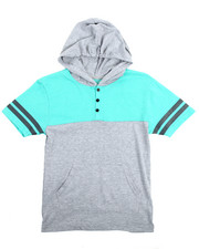 Henleys - S/S Raglan Hooded Henley Tee (8-20)