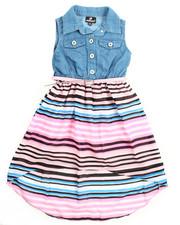 Girls - Striped Skirt Denim Dress (4-6X)