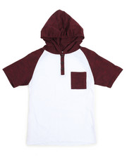 Boys - S/S Raglan Hooded Henley Tee (8-20)