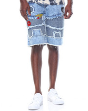 Men - Acid Wash Patchwork Denim Shorts