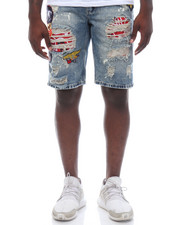 Men - Patchwork Denim Shorts