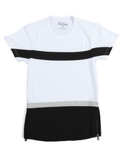 Arcade Styles - Zipper Crew Neck Colorblock Tee (8-20)