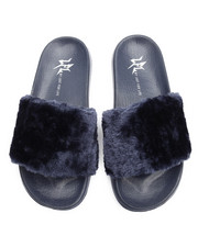 Sandals - Smooth Faux Fur Slide