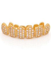 Men - 14k Gold Top Cz Studded Teeth Grillz