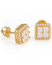 Men - 14k Gold Layered Cz Earrings