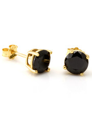 King Ice - .925 Sterling Silver Gold Black Round Studs