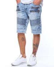 Men - Moto - Style Zipper Denim Shorts