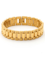 King Ice - 15mm Stainless Steel Gold Rolex Link Bracelet