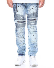 Jeans & Pants - Painted Moto Zipper Jeans