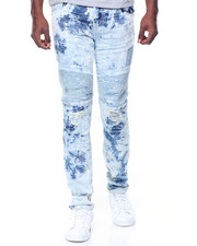 Jeans - Tie Dye Wash Moto Jeans W/Patches