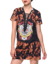 Dresses - Tie-dye Lace-up Tee Dress