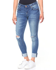 Women - Slit Knee Hi-Cuff Jeans
