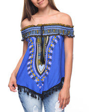 Fashion Lab - Off Shoulder Dashiki Print Top