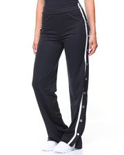 Bottoms - Wide Leg Track Pant/Snap Side