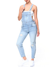 Women - Destructed Denim Overalls