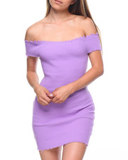 Dresses - Off Shoulder Raw Edge Ribbed Dress